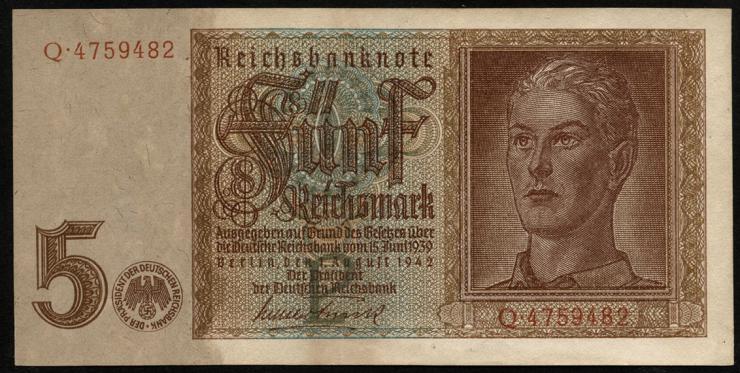 R.179a: 5 Reichsmark 1942 7-stellig  (3)