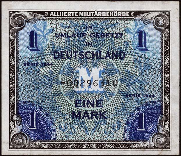 R.201b: 1 Mark 1944 US-Druck Ersatznote (2)