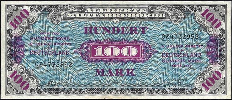 R.206a: 100 Mark 1944 US-Druck 9-stellig (2)