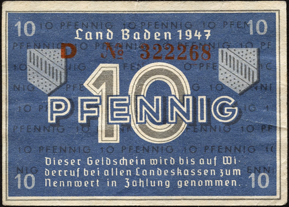 R.209d: Baden 10 Pfennig 1947 (3)