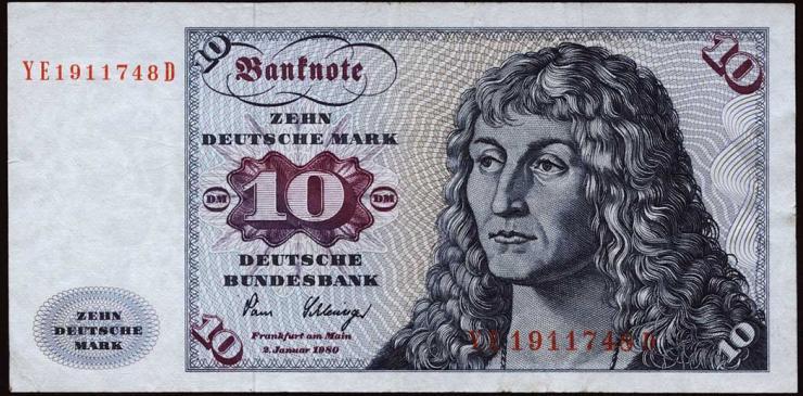 R.286b 10 DM 1980 YE/D Ersatznote (3+)