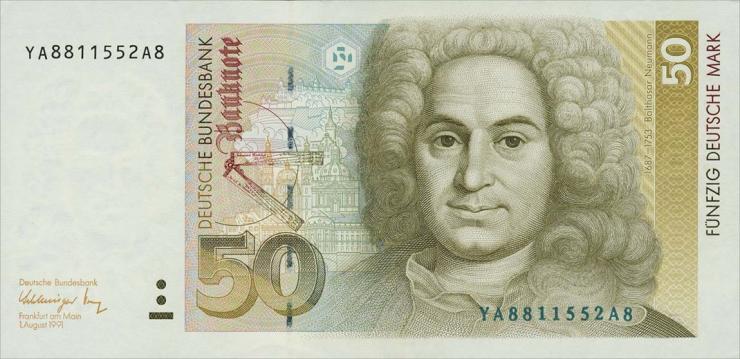 R.299b 50 DM 1991 YA/A Ersatznote (1)