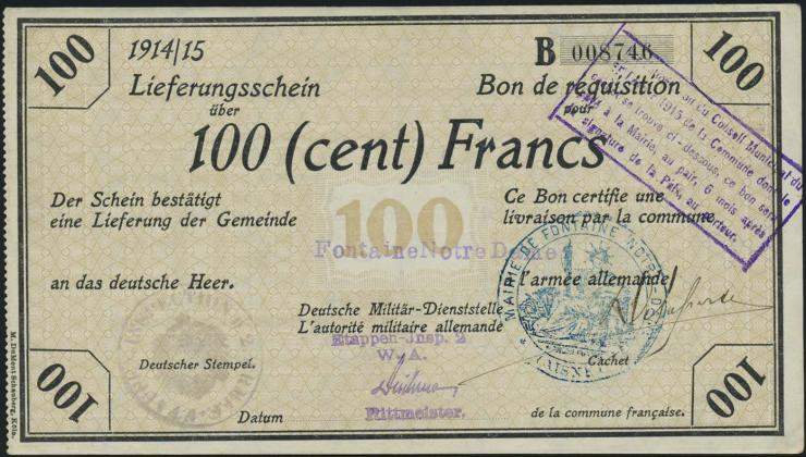 R.419a 100 Francs 1915 Deichmann-Bon (1-)