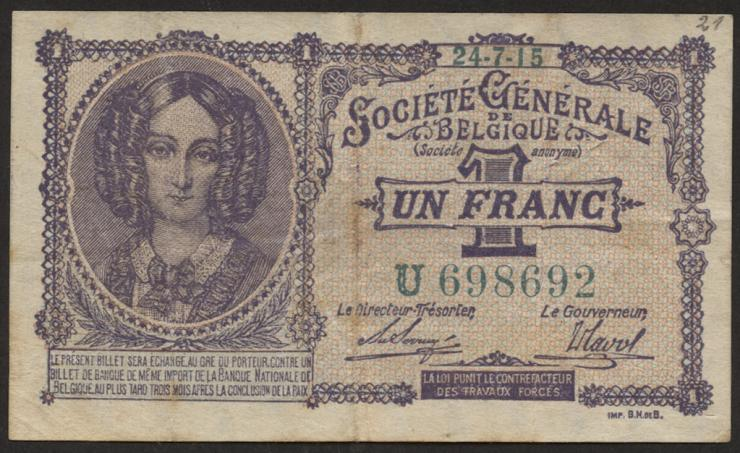 R.433a: Besetzung Belgien 1 Franc 1915 (3)