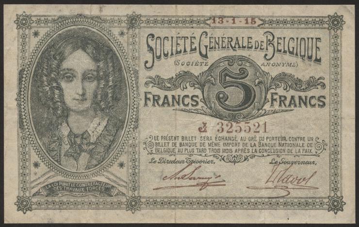 R.435: Besetzung Belgien 5 Francs 1915 (3+)