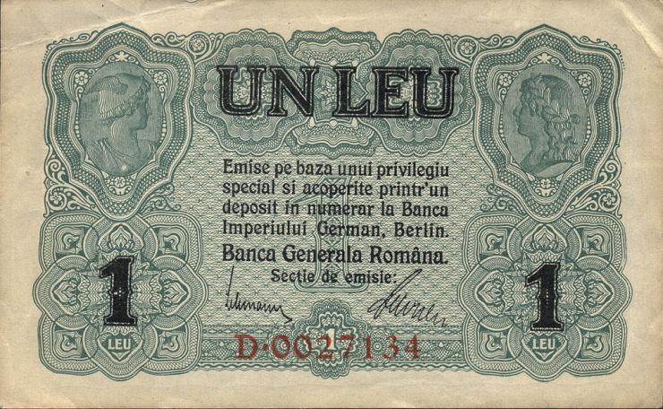 R.474a: Besetzung Rumänien 1 Leu 1917 (2)