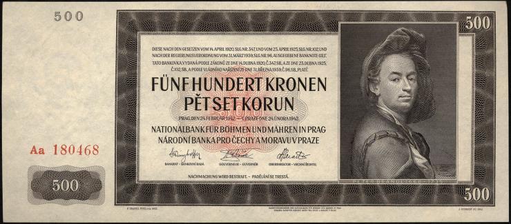 R.565d: Böhmen & Mähren 500 Kronen 1942 II.Auflage (1)