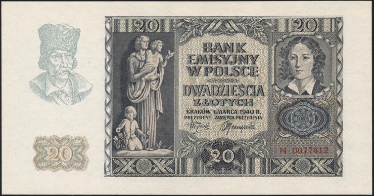 R.575: Generalgouv. Polen 20 Zloty 1940 (1-)