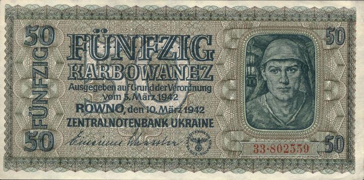 R.596a: Besetzung Ukraine 50 Karbowanez 1942 (1/1-)