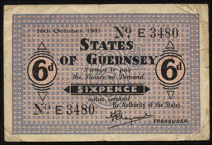 R.641: Guernsey 6 Pence 16.10.1941 (3)