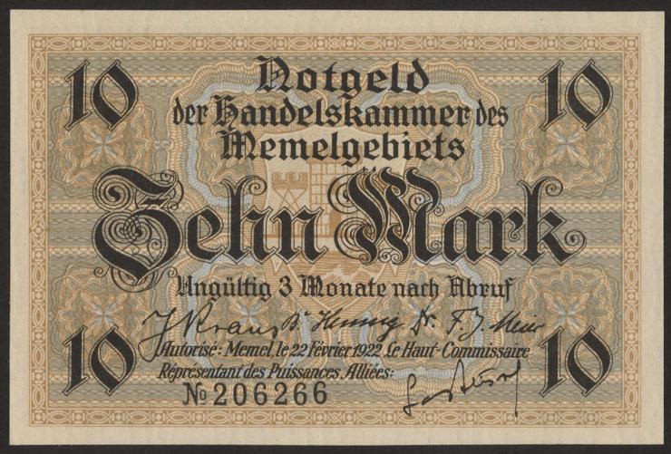 R.850b: Memelgebiet 10 Mark 1922 (1-)