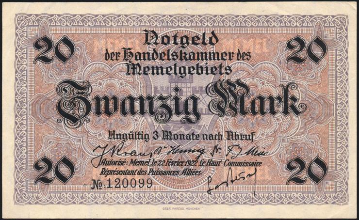 R.851a: Memelgebiet 20 Mark 1922 (1/1-)