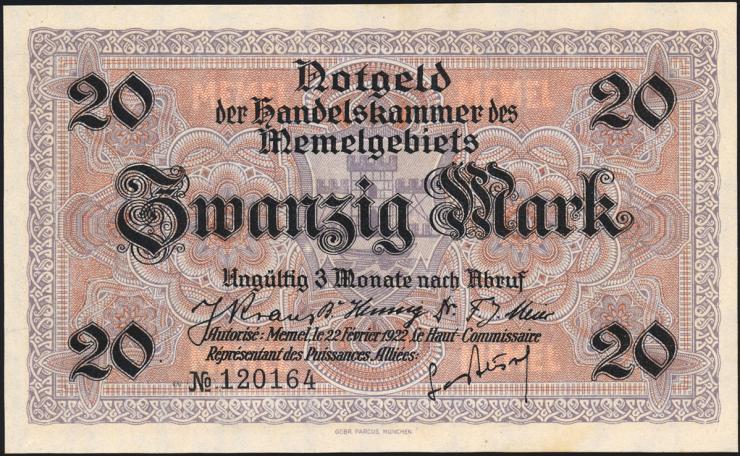 R.851a: Memelgebiet 20 Mark 1922 (1)