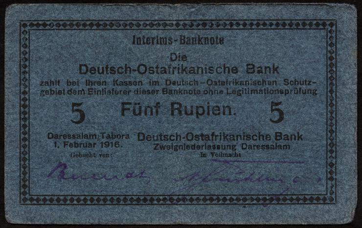 R.933d: Deutsch-Ostafrika 5 Rupien 1916 F (3)