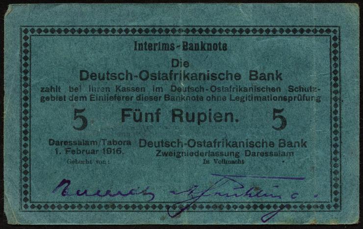 R.933n: Deutsch-Ostafrika 5 Rupien 1916 H (3)