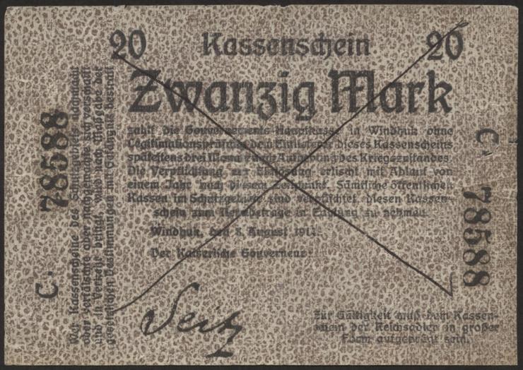 R.944: Deutsch-Südwestafrika 20 Mark 1914 (4)