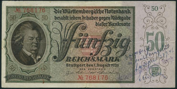 R-WTB 29a: 50 Reichsmark 1925 (3+)