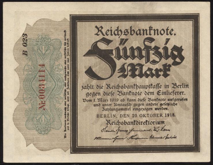 """R.056d: 50 Mark 1918 """"Trauerschein"""" (1)"""