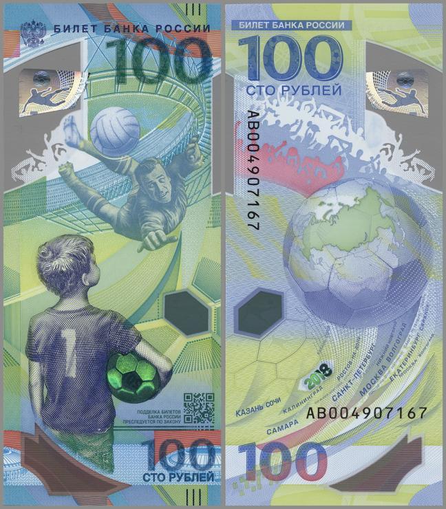 Russland / Russia P.neu 100 Rubel 2018 Polymer Serie AB Ersatznote (1)
