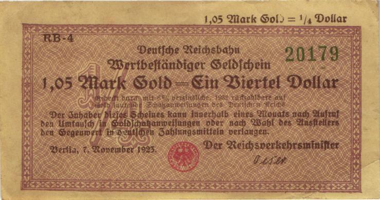 RVM-27a Reichsbahn Berlin 1,05 Mark Gold = 1/4 Dollar 7.11.1923 (3+)