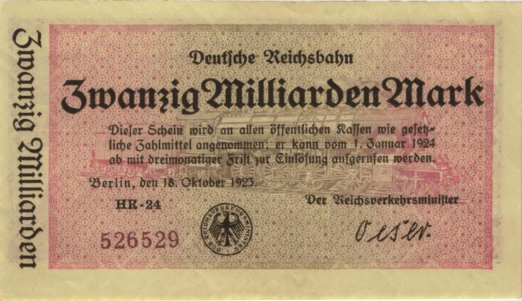 RVM-12 Reichsbahn Berlin 20 Milliarden Mark 1923 (1-)