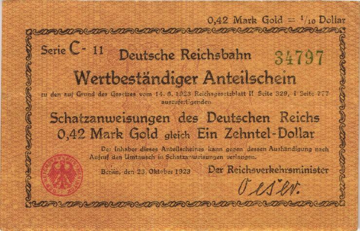 RVM-23a Reichsbahn Berlin 0,42 Mark Gold = 1/10 Dollar 23.10.1923 (3+)
