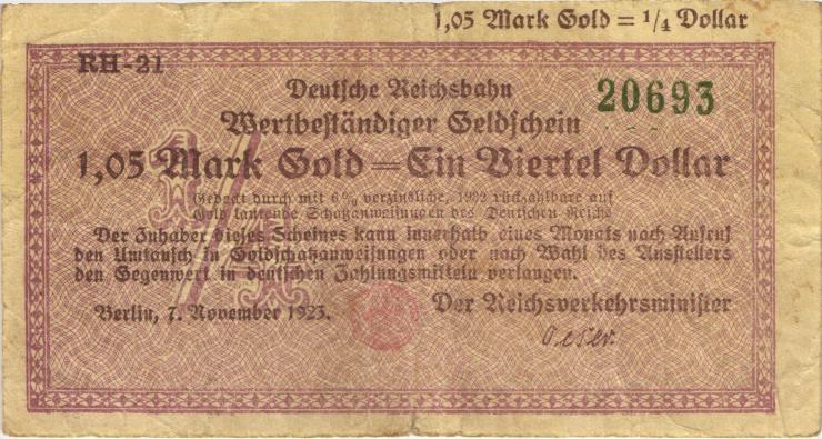 RVM-27a Reichsbahn Berlin 1,05 Mark Gold = 1/4 Dollar 7.11.1923 (3)