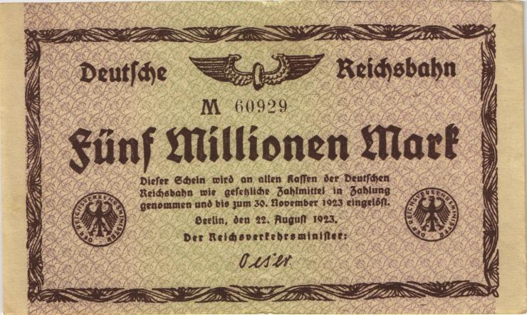 RVM-03a Reichsbahn Berlin 5 Millionen Mark 1923 (2)