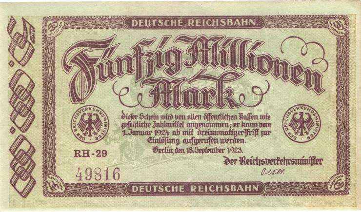 RVM-06 Reichsbahn Berlin 50 Millionen Mark 1923 (1)