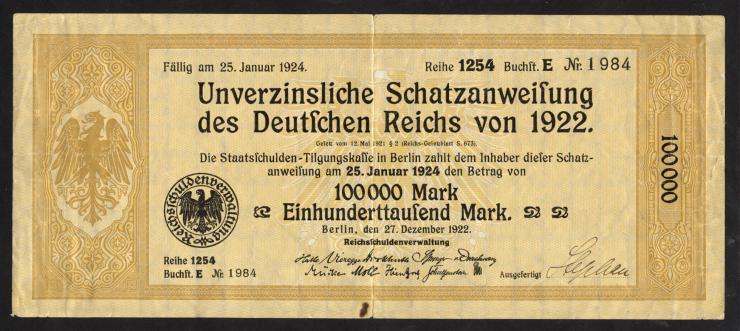 100.000 Mark Schatzanweisung 27.12.1922 (3)