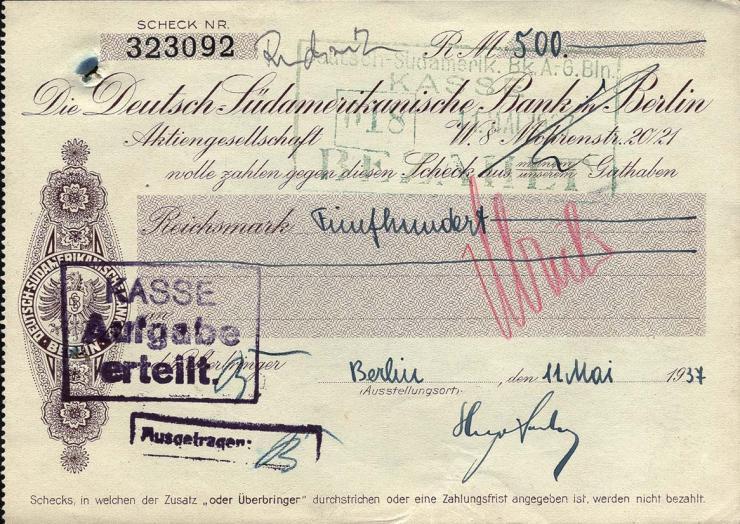 Scheck Deutsch-Südamerikanische Bank (2)