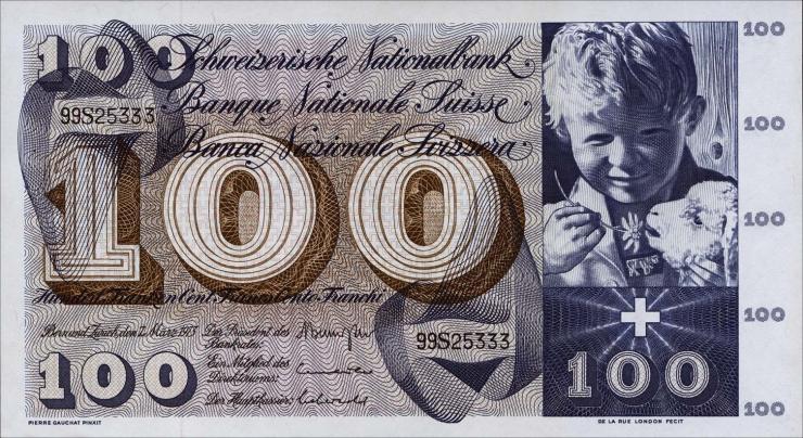 Schweiz / Switzerland P.49o 100 Franken 1973 (1)