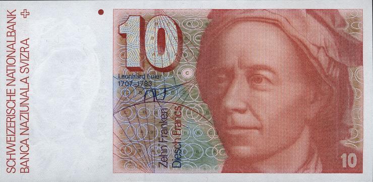 Schweiz / Switzerland P.53d 10 Franken 1982 (1)
