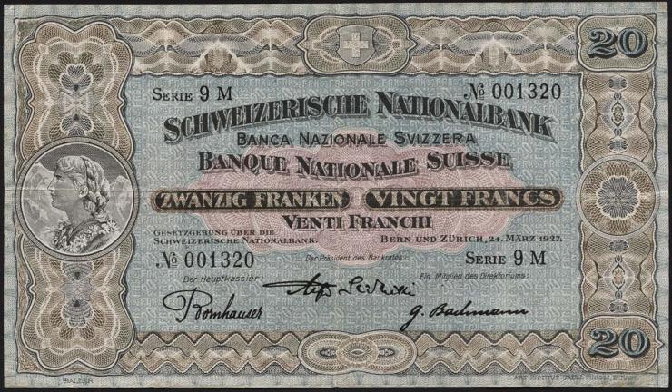Schweiz / Switzerland P.33d 20 Franken 1927 (3)