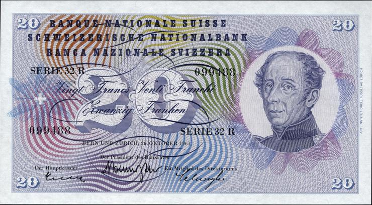 Schweiz / Switzerland P.46i 20 Franken 1961 (1)