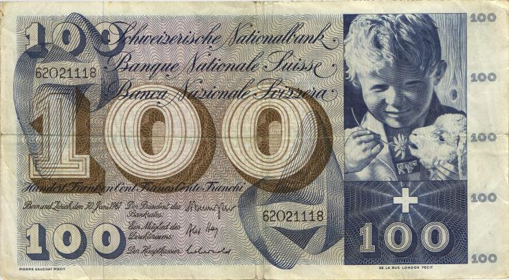 Schweiz / Switzerland P.49j 100 Franken 1967 (3)