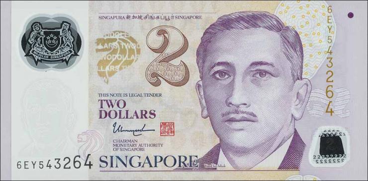 Singapur / Singapore P.neu 2 Dollars 2017 Polymer (1)