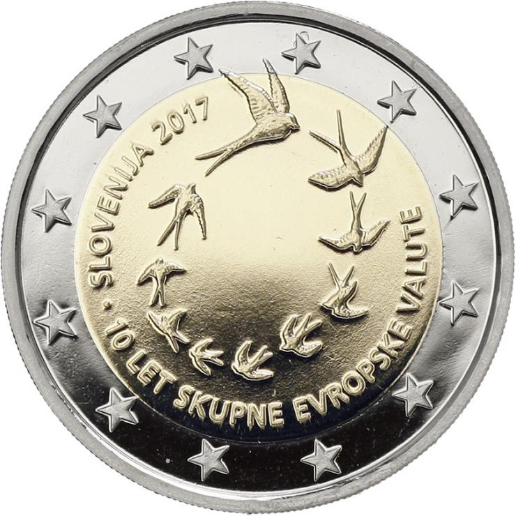 Slowenien 2 Euro 2017 10 Jahre Euro-Einführung in Slowenien PP