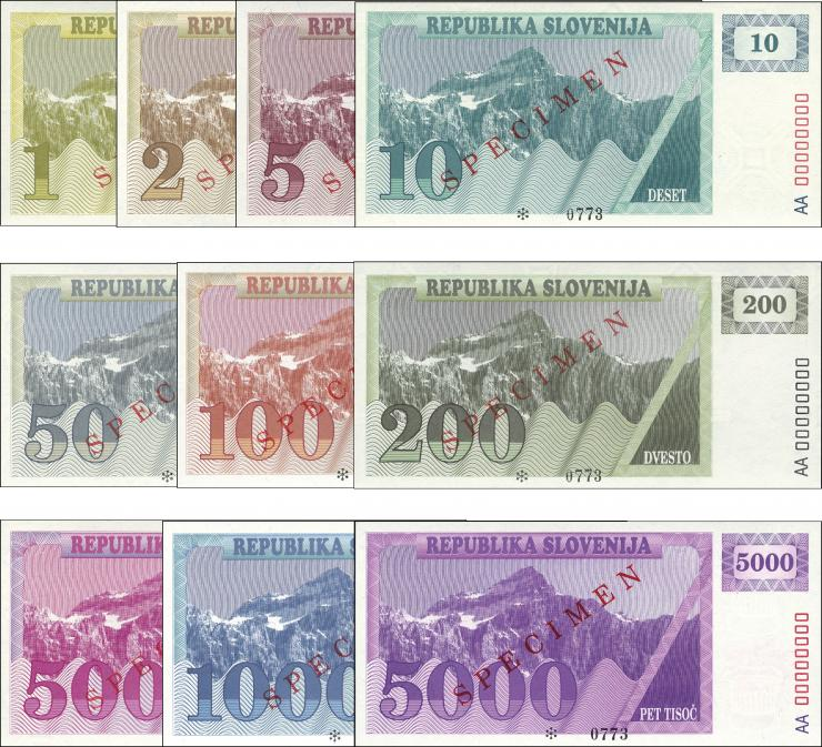 Slowenien / Slovenia P.01A - P.10A 1 - 5000 (Tolarjew) 1990 Specimen (1)