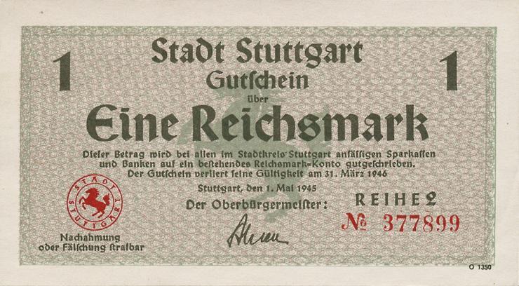 Notgeld Stadt Stuttgart 1 Reichsmark 1.5.1945 (1)