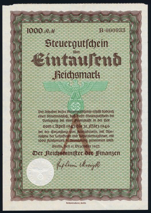 Steuergutschein 1000 Reichsmark 1937 (1-)