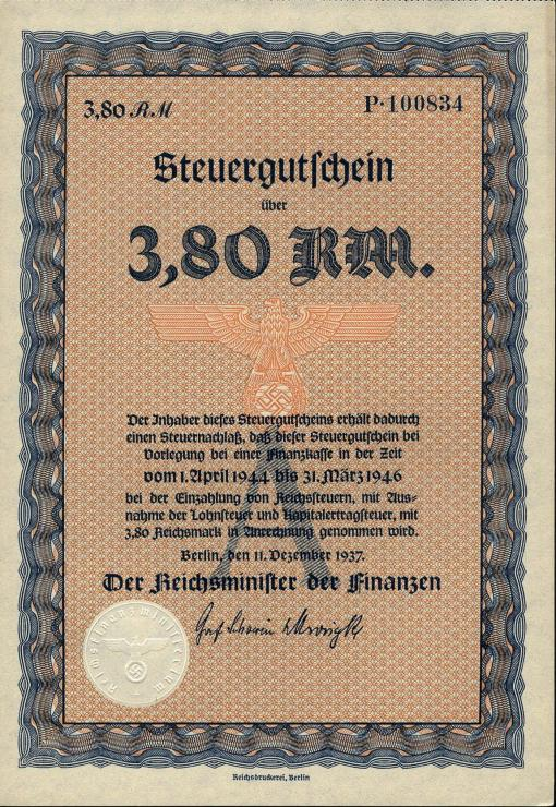 Steuergutschein 3,80 Reichsmark 1937 (1)