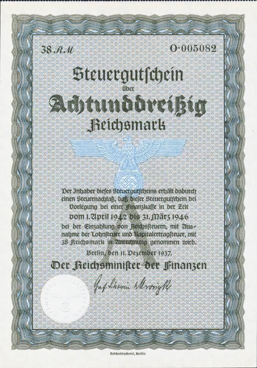 Steuergutschein 38 Reichsmark 1937 (1)