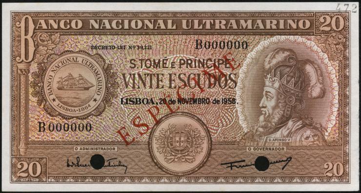 St. Thomas / Saint Thomas and Prince P.36s 20 Escudos 1958 Specimen (1)