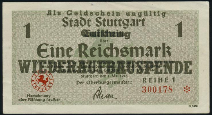 Stadt Stuttgart 1 - 20 Reichsmark 1.5.1945 (2)