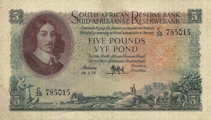 Südafrika / South Africa P.096c 5 Pounds 1954-59 (Englisch) (3+)