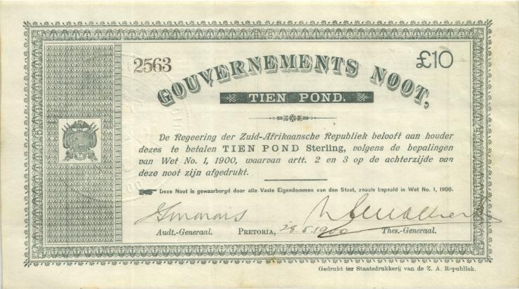 Südafrika / South Africa P.056 10 Pounds 1900 (2/1)