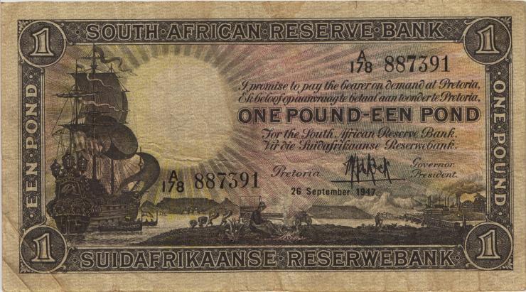 Südafrika / South Africa P.084f 1 Pound 1947 (4)