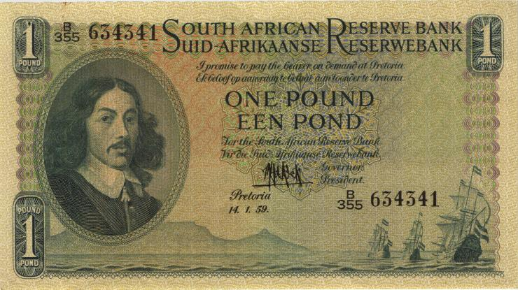 Südafrika / South Africa P.092d 1 Pound 14.1.1959 (Englisch) (2)