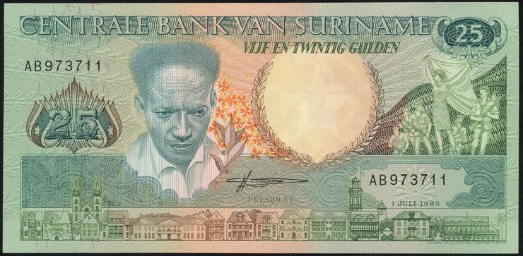 Surinam / Suriname P.132a 25 Gulden 1986 (1)